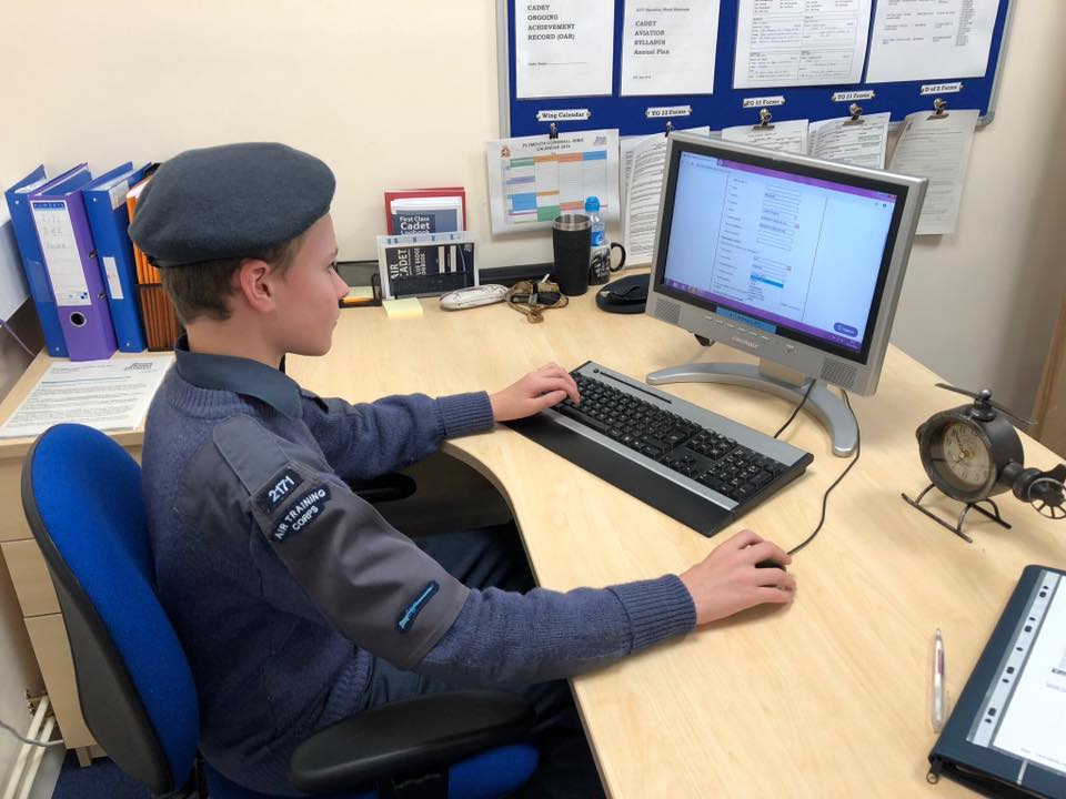 Cadet Studying ATC air cadets